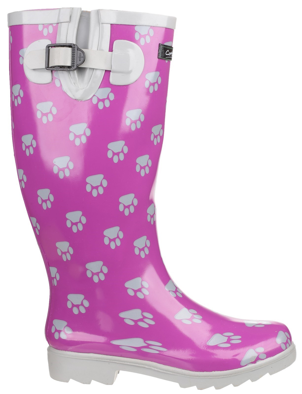 Cotswold Damen Regenstiefel Gummistiefel Wasserdicht Stiefel Hundepfoten Muster Schwarz & Weiß 38 OiD6NniPL